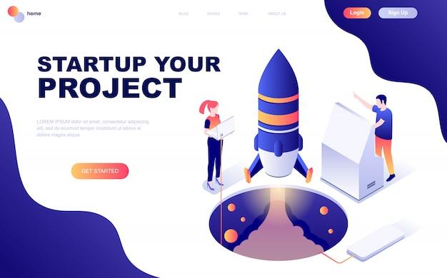 Nowoczesna, płaska izometryczna koncepcja startup your project
