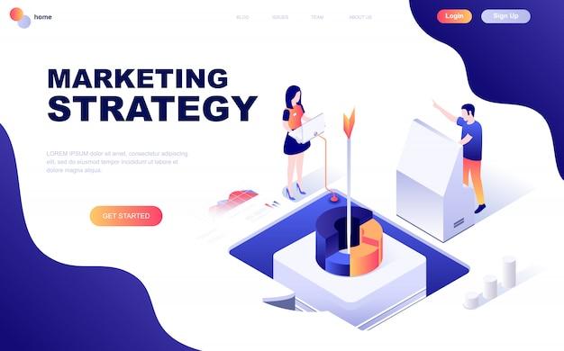 Nowoczesna płaska izometryczna koncepcja strategii marketingowej
