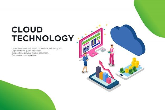 Nowoczesna płaska izometryczna koncepcja technologii chmury.