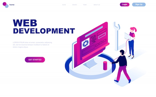 Nowoczesna płaska izometryczna koncepcja web development