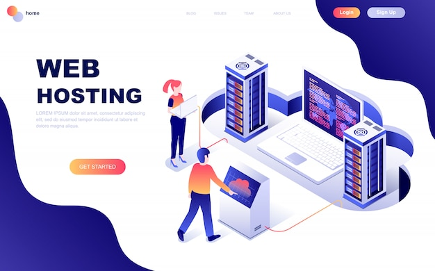Nowoczesna, płaska izometryczna koncepcja web hosting