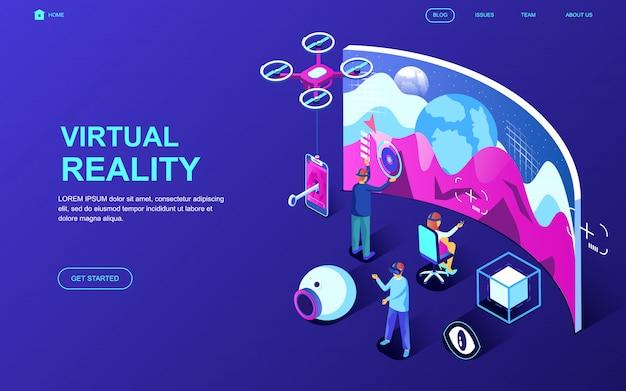 Nowoczesna, płaska izometryczna koncepcja wirtualnej rzeczywistości