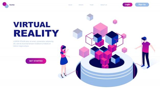 Nowoczesna płaska izometryczna koncepcja wirtualnej rzeczywistości