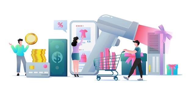Nowoczesna płaska koncepcja biznesowa zakupy online do projektowania stron internetowych.
