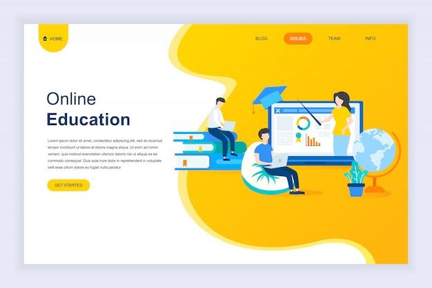 Nowoczesna płaska koncepcja edukacji online na stronie internetowej