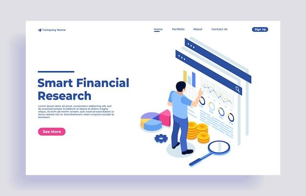 Nowoczesna, płaska koncepcja izometryczna analizy danych finansowych z charakterem