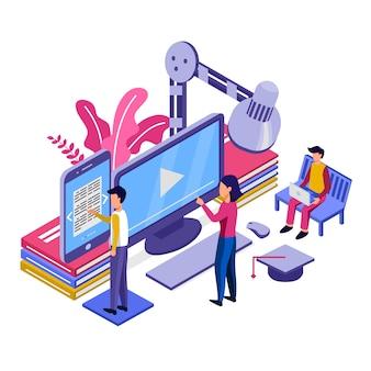 Nowoczesna płaska koncepcja izometryczny edukacji online