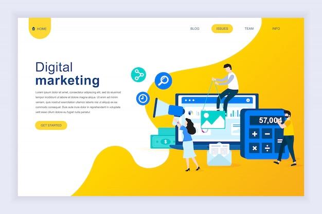 Nowoczesna płaska koncepcja marketingu cyfrowego na stronie internetowej