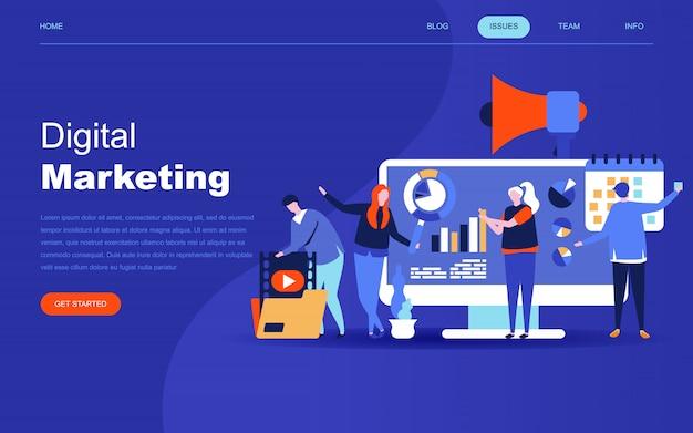 Nowoczesna płaska koncepcja marketingu cyfrowego