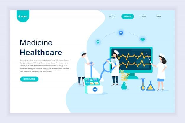 Nowoczesna płaska koncepcja medycyny online na stronie internetowej