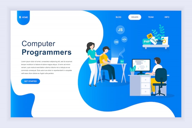 Nowoczesna płaska koncepcja programistów komputerowych