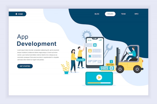 Nowoczesna płaska koncepcja rozwoju aplikacji na stronie internetowej