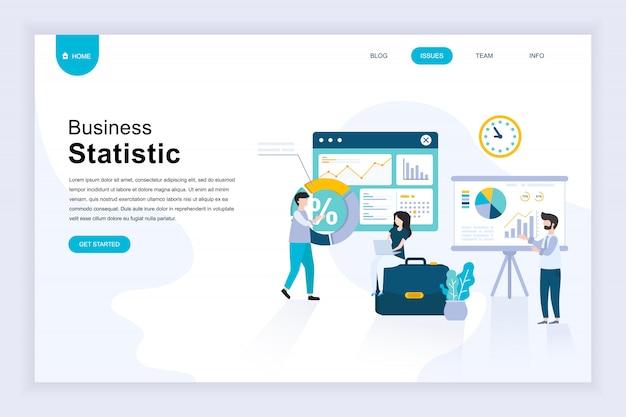 Nowoczesna płaska koncepcja statystyka biznesowa na stronie internetowej