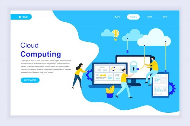 Nowoczesna płaska koncepcja technologii cloud na stronie internetowej