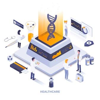 Nowoczesna płaska konstrukcja izometryczna ilustracja opieki zdrowotnej