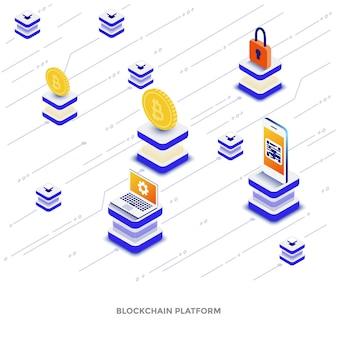 Nowoczesna, płaska konstrukcja izometryczna ilustracja platformy blockchain. może być używany na stronie internetowej i mobilnej lub na stronie docelowej. łatwe do edycji i dostosowywania. ilustracja wektorowa