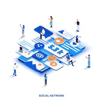 Nowoczesna płaska konstrukcja izometryczna ilustracja sieci społecznościowej