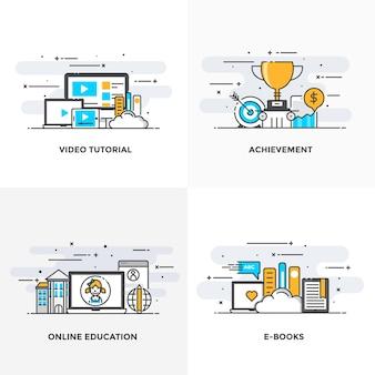 Nowoczesna płaska linia kolorów zaprojektowała ikony koncepcji dla samouczków wideo, osiągnięć, edukacji online i książek elektronicznych.