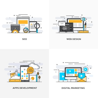 Nowoczesna, płaska linia kolorów zaprojektowała ikony koncepcji seo, projektowania stron internetowych, tworzenia aplikacji i marketingu cyfrowego.