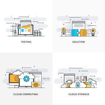 Nowoczesna płaska linia kolorów zaprojektowała ikony koncepcji testowania, rozwiązania, przetwarzania w chmurze i przechowywania w chmurze.