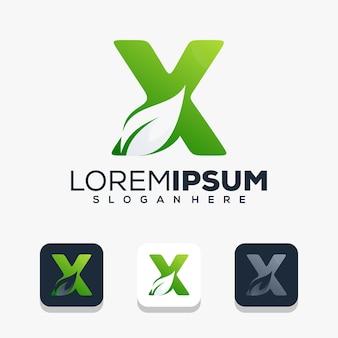 Nowoczesna początkowa litera x z logo liścia