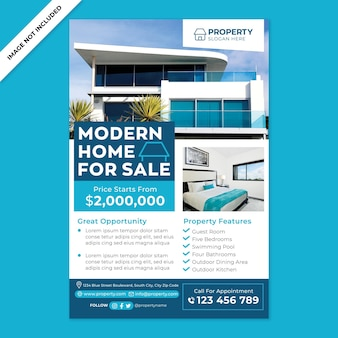 Nowoczesna promocja plakatu domu na sprzedaż w stylu płaskiej konstrukcji