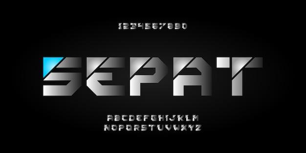 Nowoczesna Prosta Czcionka Alfabetu I Typografia Liczbowa, Duże Litery I Cyfry Premium Wektorów