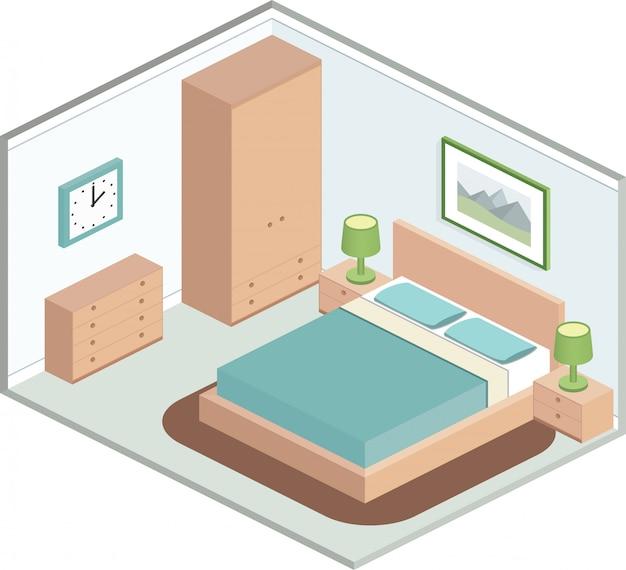 Nowoczesna przytulna sypialnia z meblami. wnętrze w izometrycznym stylu w pastelowych kolorach. ilustracja d.
