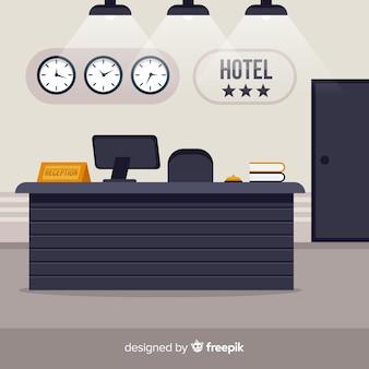 Nowoczesna recepcja hotelowa o płaskiej konstrukcji
