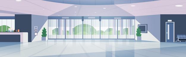 Nowoczesna recepcja pusta nikt lobby lobby współczesne wnętrze holu hotelu