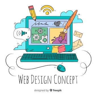 Nowoczesna, ręcznie rysowane koncepcja projektowania sieci web