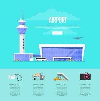 Nowoczesna reklama międzynarodowego lotniska pasażerskiego