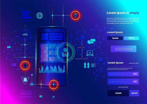 Nowoczesna sieć inteligentnych telefonów technologii innowacji biznesowych