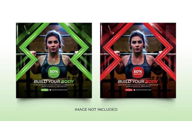 Nowoczesna siłownia fitness gym social media post template design set z kreatywnymi kształtami