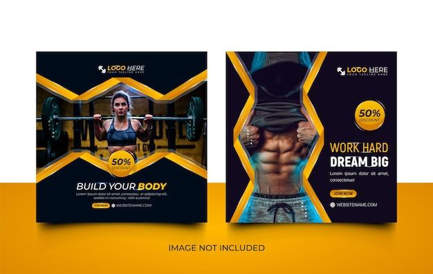 Nowoczesna siłownia fitness szablon mediów społecznościowych zestaw z kreatywnymi kształtami