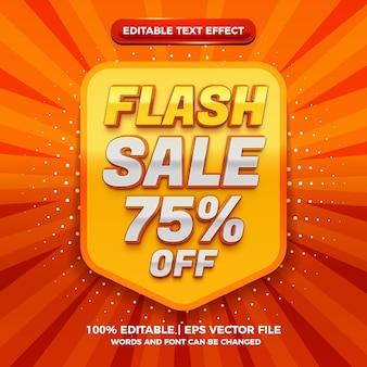Nowoczesna sprzedaż flashowa 3d edytowalny efekt tekstowy
