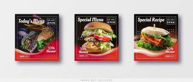 Nowoczesna sprzedaż żywności instagram post i szablon banera mediów społecznościowych