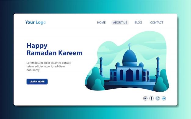 Nowoczesna strona docelowa z ilustracjami meczetów na powitanie szczęścia ramadana i eid