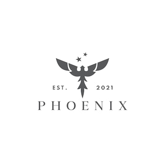 Nowoczesna sylwetka latający feniks koncepcja projektowania logo