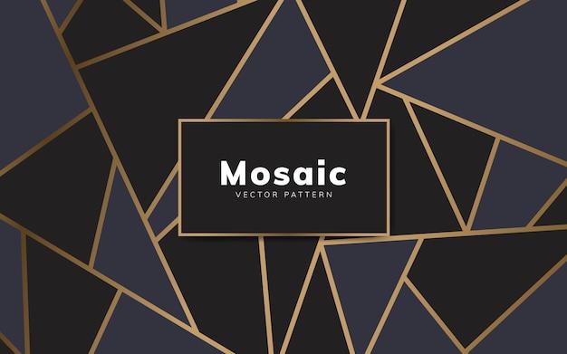 Nowoczesna tapeta mozaika w kolorze czarnym i złotym