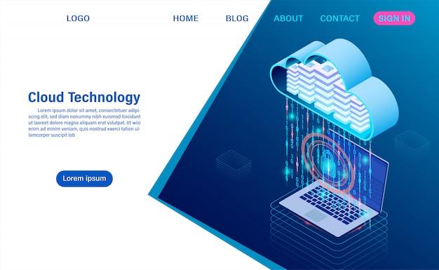 Nowoczesna technologia chmury i sieci. technologia obliczeniowa online. koncepcja przetwarzania dużych przepływów danych, internetowe usługi danych