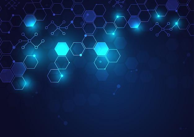 Nowoczesna technologia geometryczna i system połączeń tło z abstrakcyjnych danych cyfrowych