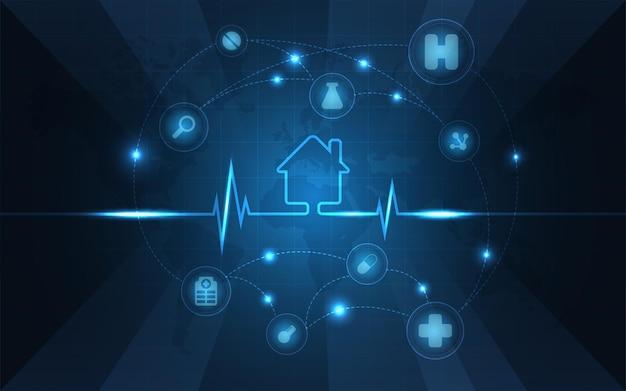 Nowoczesna technologia medyczna i koncepcja innowacji. wzór opieki zdrowotnej koncepcja innowacji medycznych projekt tła.