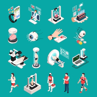 Nowoczesna technologia medyczna izometryczne ikony zestaw z narządami drukowanie 3d przeszczep nanoroboty urządzeń elektronicznych