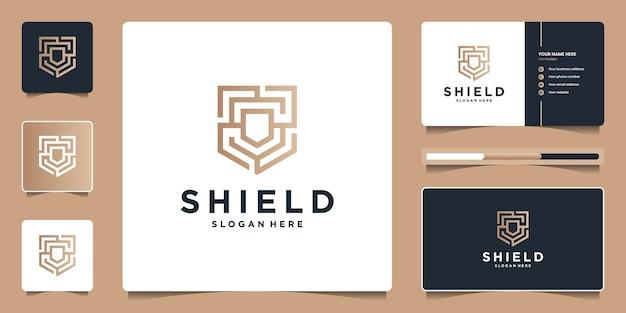 Nowoczesna technologia ochrony tarczy z początkową koncepcją minimalnego kształtu s. projekt logo i branding wizytówek dla firmy.