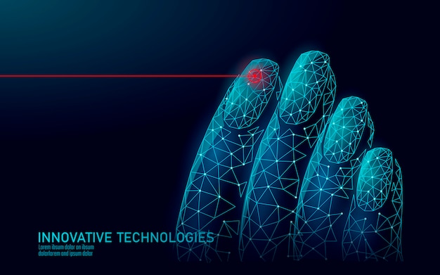 Nowoczesna technologia pielęgnacji paznokci low poly. innowacyjna laseroterapia