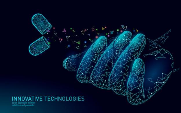 Nowoczesna technologia pielęgnacji paznokci low poly. innowacyjny naturalny