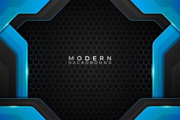 Nowoczesna technologia realistyczna w tle w kolorze niebieskim z ciemnym wzorem sześciokątnym