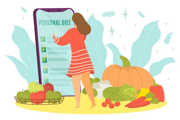 Nowoczesna technologia smartfon osobiste jedzenie dieta drobna kobieta postać praca telefon komórkowy płaski wektor i...