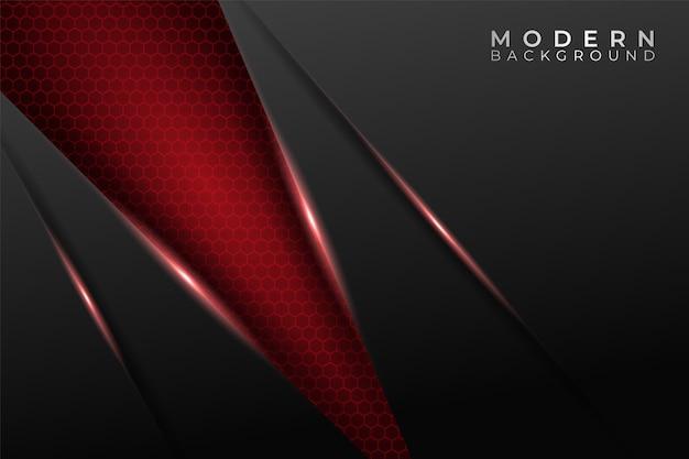 Nowoczesna technologia w tle futurystyczna przekątna świecąca na czerwono z wzorem sześciokątnym